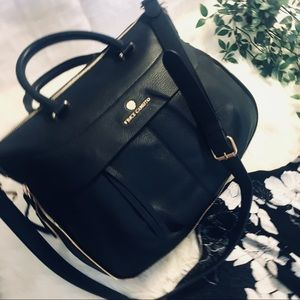 NWT Gorgeous Black Satchel Bag with Gold Hardware